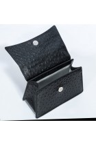 ALICE BLACK OSTRICH EMBOSSED LEATHER BAG